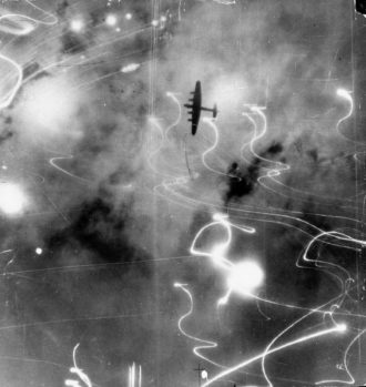 A Royal Air Force Lancaster bomber during a night raid over Hamburg, Germany, 1943