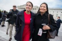Newly elected members of the House of Representatives Alexandria Ocasio-Cortez (NY) and Deb Haaland (NM) after the congressional freshman class photo, the Capitol, Washington, D.C., November 14, 2018