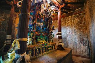 An interior of the Manjushri Temple, Alchi