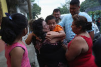 Family members welcoming home six-year-old Leo Jeancarlo de Leon, who had been separated from his mother, Lourdes de Leon, for nearly three months after they were detained by Border Patrol in the US, San Marco, Guatemala, August 8, 2018