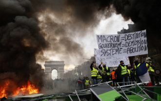 Yellow Vest protesters on the Champs Élysées, Paris, November 24, 2018