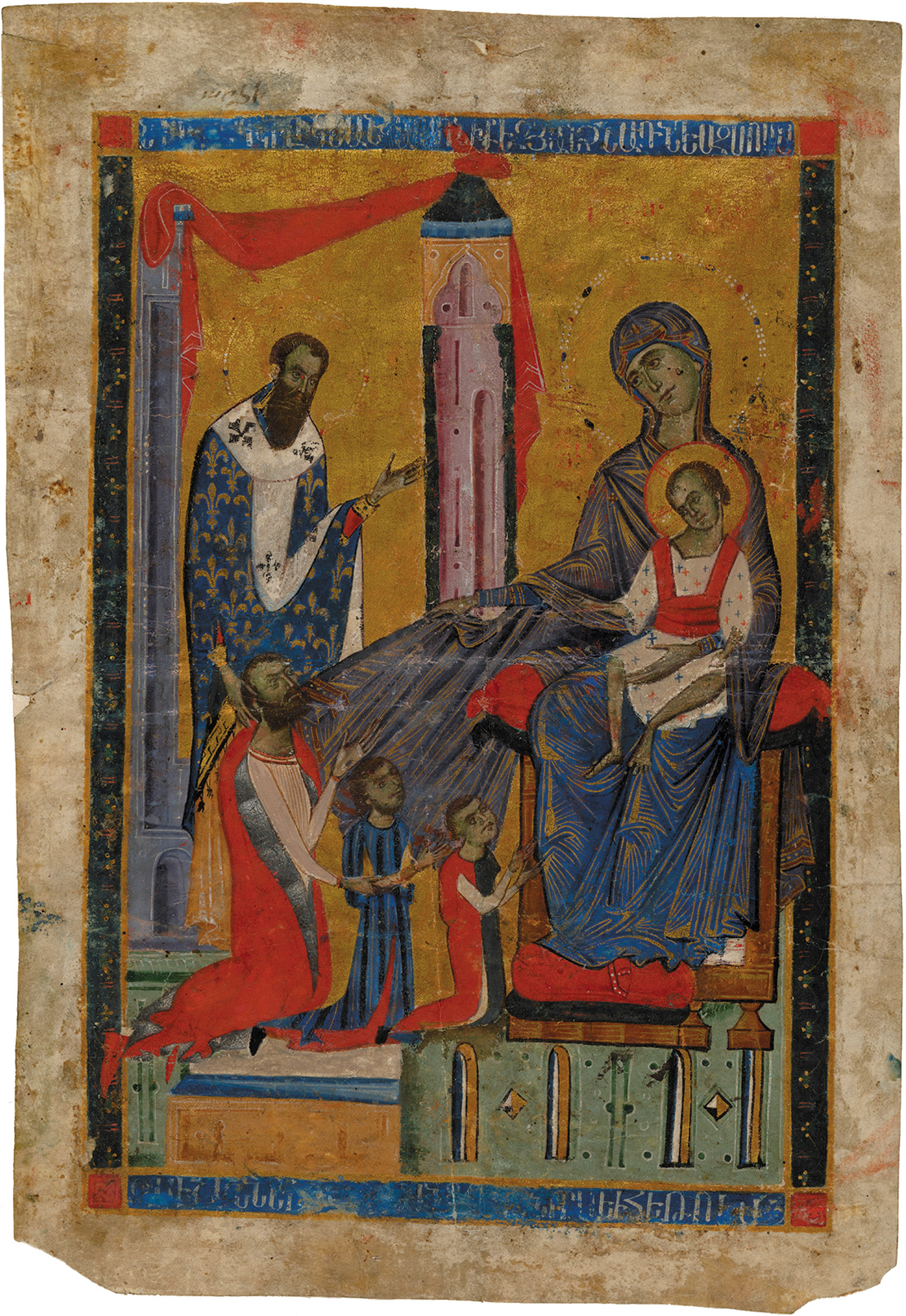 Archbishop John presenting Marshal Oshin and his two sons, Kostandin and Hetum, to the Virgin and Child; from the Gospel Book of Marshal Oshin, created in Sis, the capital of the Armenian Kingdom of Cilicia (in present-day Turkey), 1274