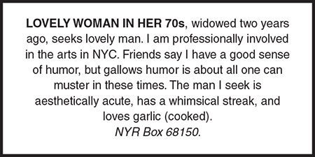 New york review of books personals