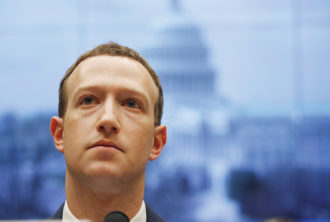 Mark Zuckerberg testifying at a Senate hearing about Facebook's use of user data, Washington, D.C., April 2018