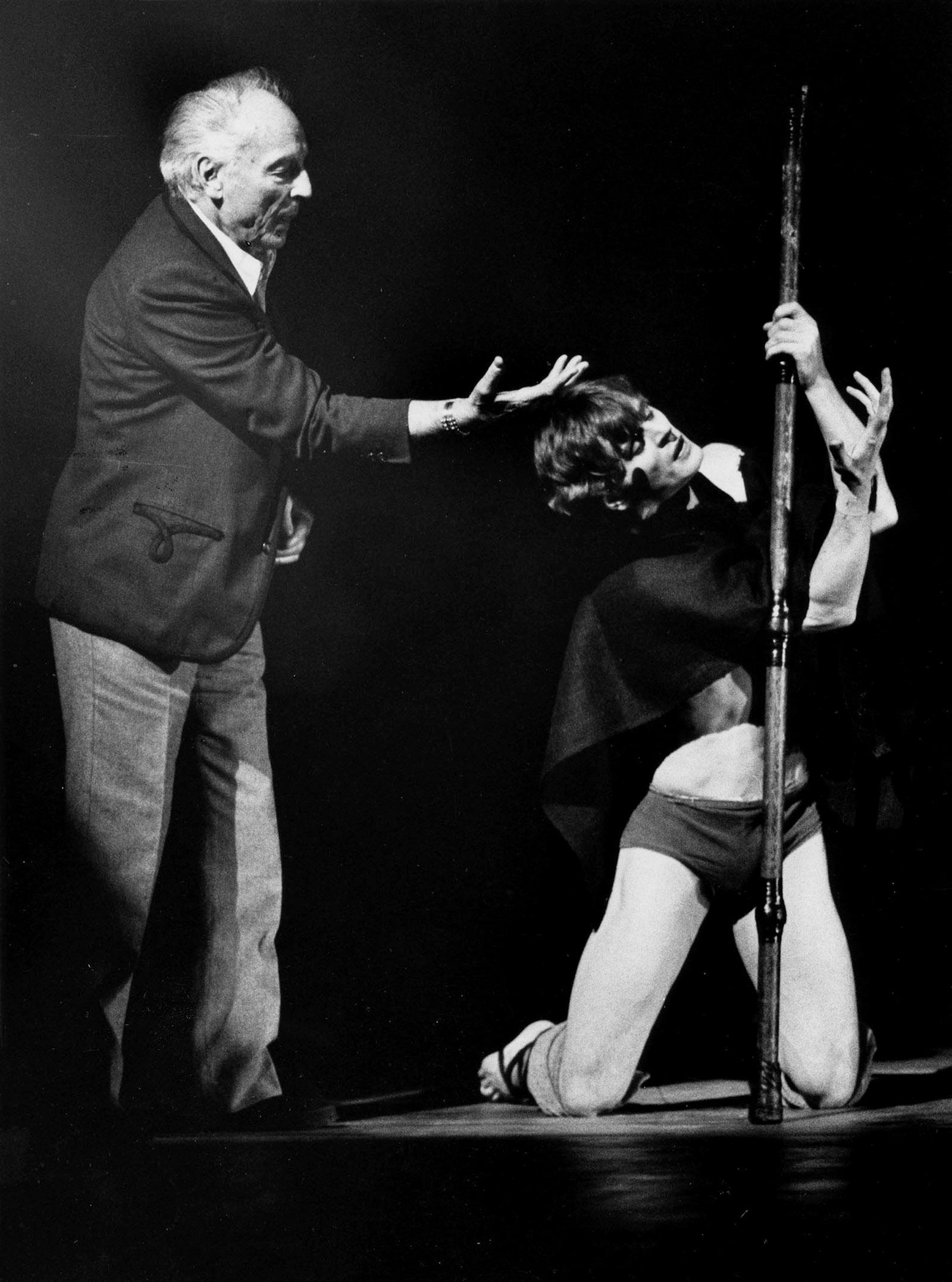 George Balanchine and Mikhail Baryshnikov rehearsing Prodigal Son at the New York City Ballet, 1979