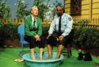 Fred Rogers and François Clemmons in an episode of Mister Rogers' Neighborhood, 1993