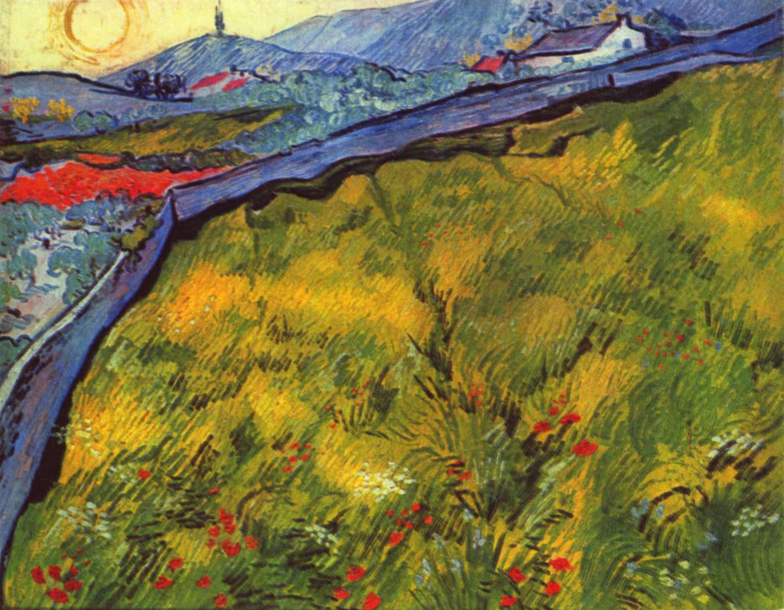 Vincent van Gogh: Enclosed Wheat Field with Rising Sun, 1889