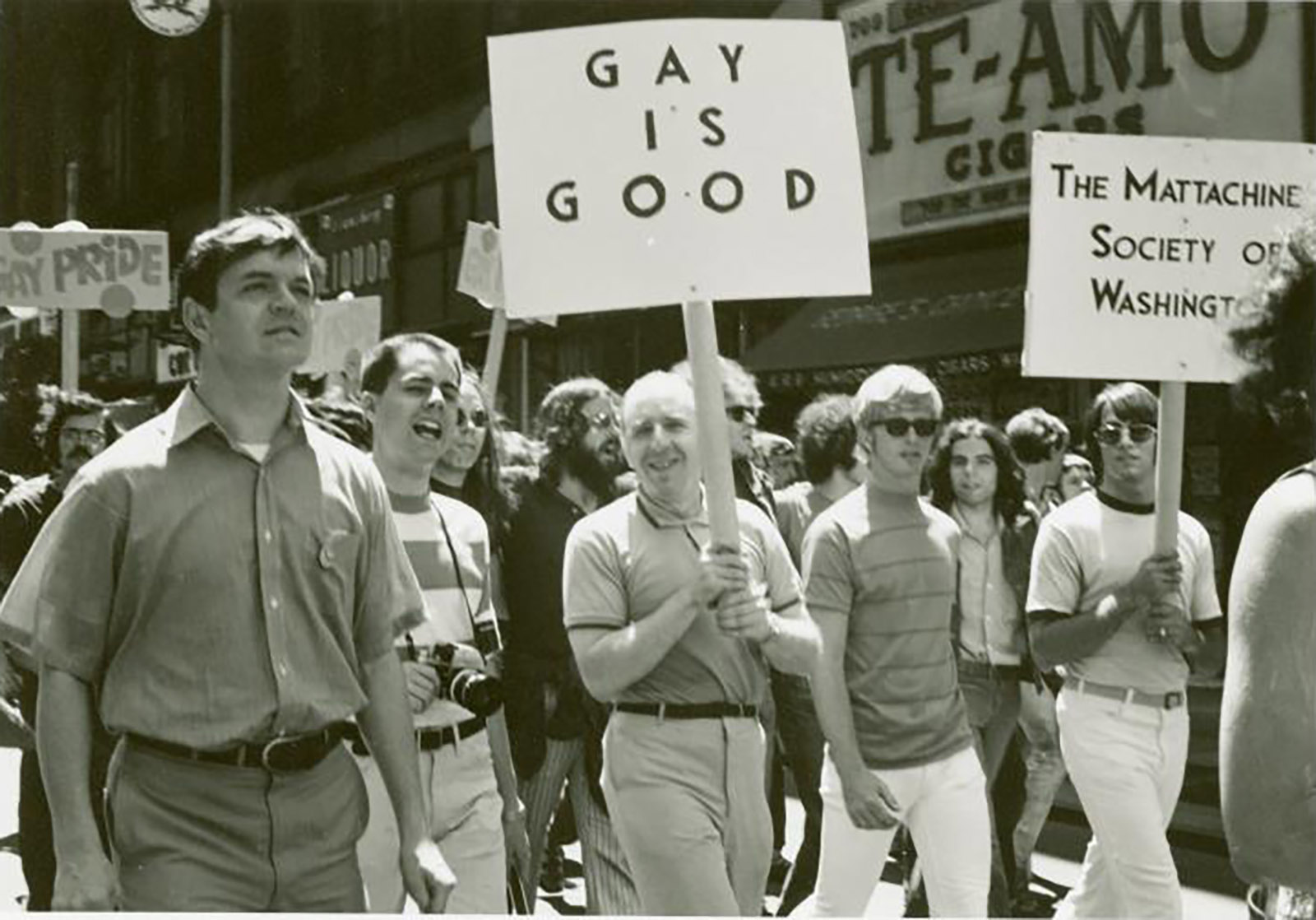 Frank Kameny (center) and Mattachine Society of Washington members marching in the first Christopher Street Liberation Day Parade, New York City, 1970