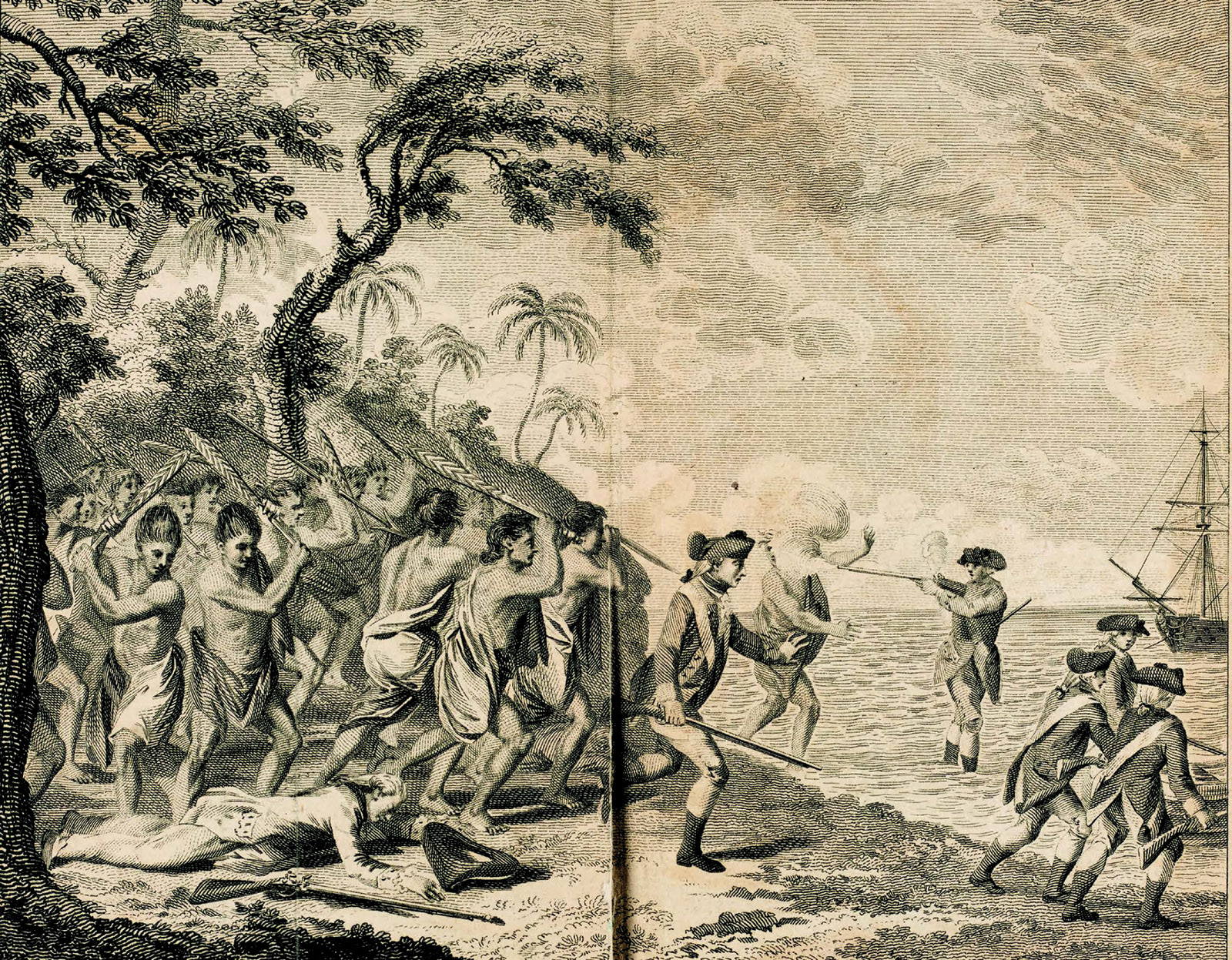 The death of Captain Cook on February 15, 1779, at Kealakekua Bay in Hawaii; engraving from John Rickman's Journal of Captain Cook's Last Journey to the Pacific Ocean on Discovery (1781). It was the first image of Cook's death to be published.