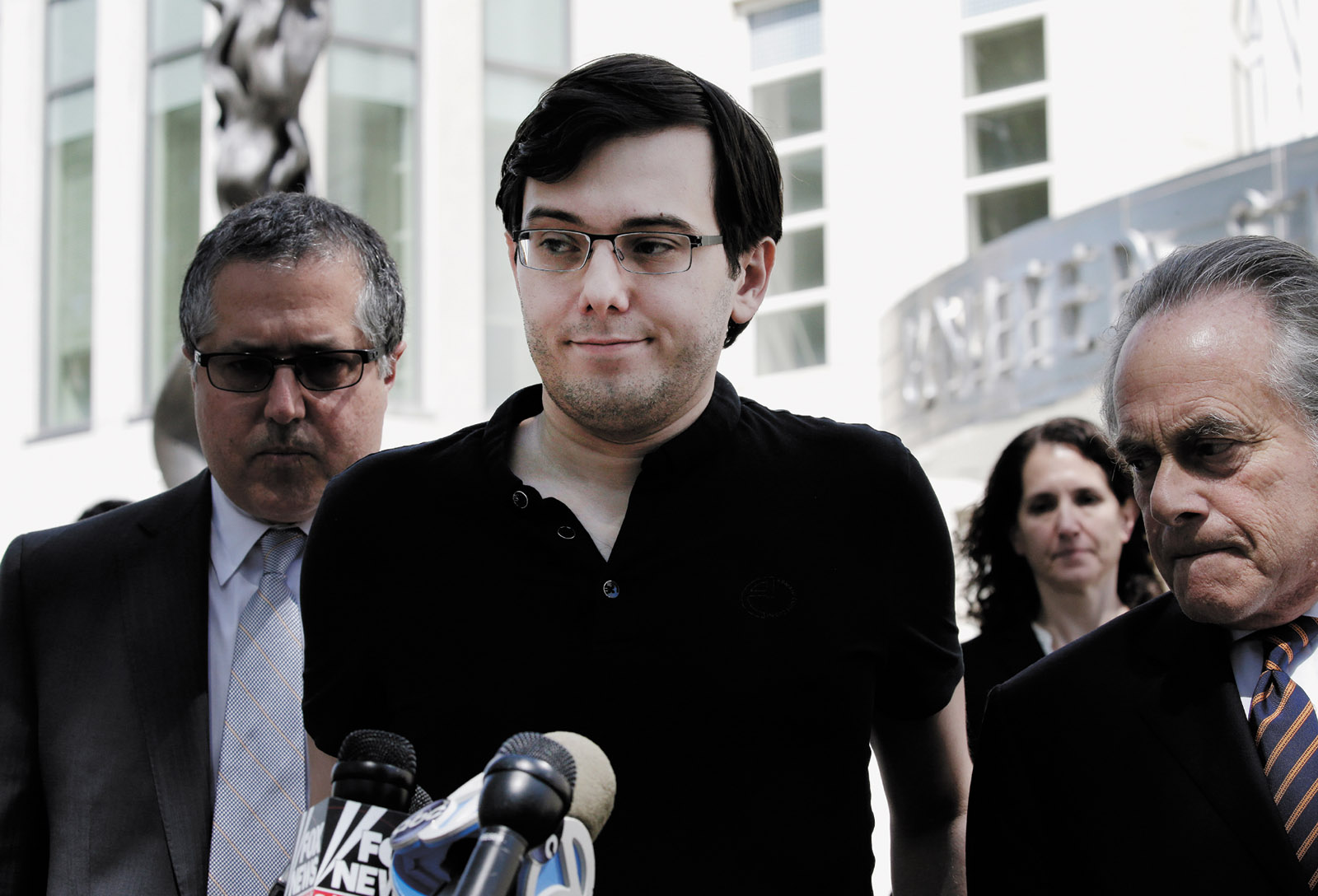 Martin Shkreli, the former head of Turing Pharmaceuticals, outside the federal courthouse in Brooklyn after he was found guilty of fraud, August 2017