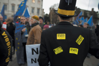 Protesters outside Parliament on the day the House of Commons rejected Prime Minister Theresa May's Brexit deal with the EU, January 15, 2019