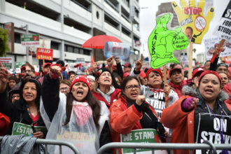 Striking teachers and their supporters rallying on the second day of the teachers strike, downtown Los Angeles, January 15, 2019