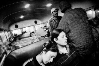 Farm laborers on their way to work, Fresno, California, 2004