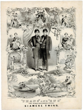 A lithograph of the Siamese twins Chang and Eng, along with their wives and children, 1860
