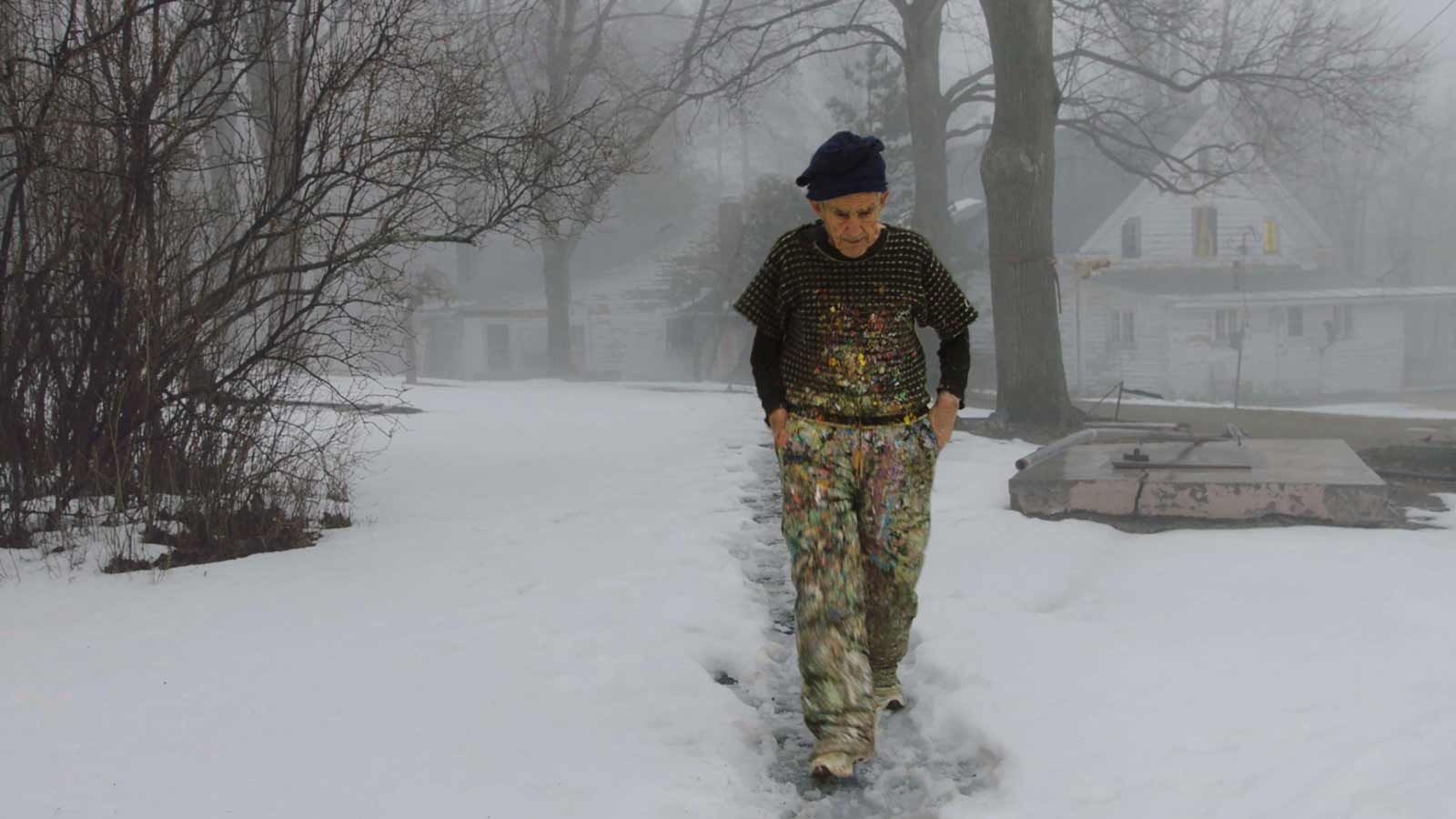 Artist Larry Poons walking to his studio in East Durham, New York, from Kahn's The Price of Everything, 2018
