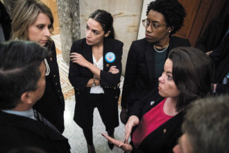 Democratic representatives Katie Hill, Alexandria Ocasio-Cortez, Lauren Underwood, and Angie Craig, Capitol Hill, January 2019