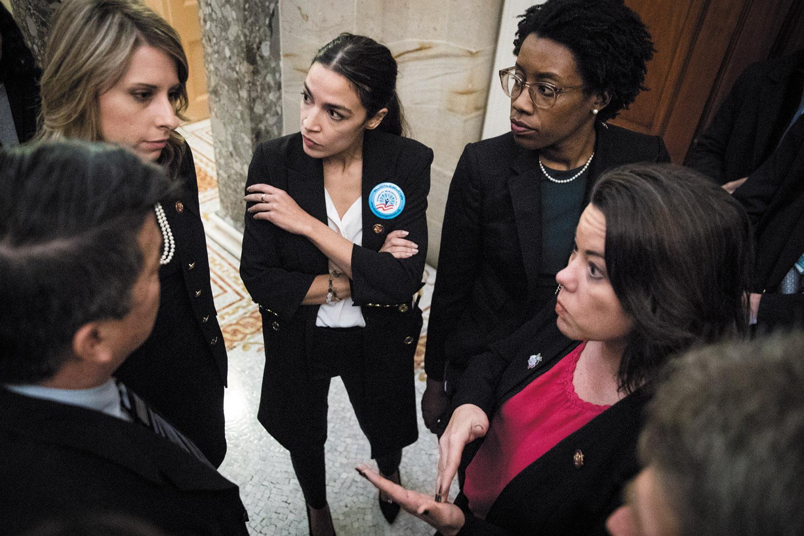 Democratic representatives Katie Hill, Alexandria Ocasio-Cortez, Lauren Underwood, and Angie Craig, Capitol Hill, January 2019