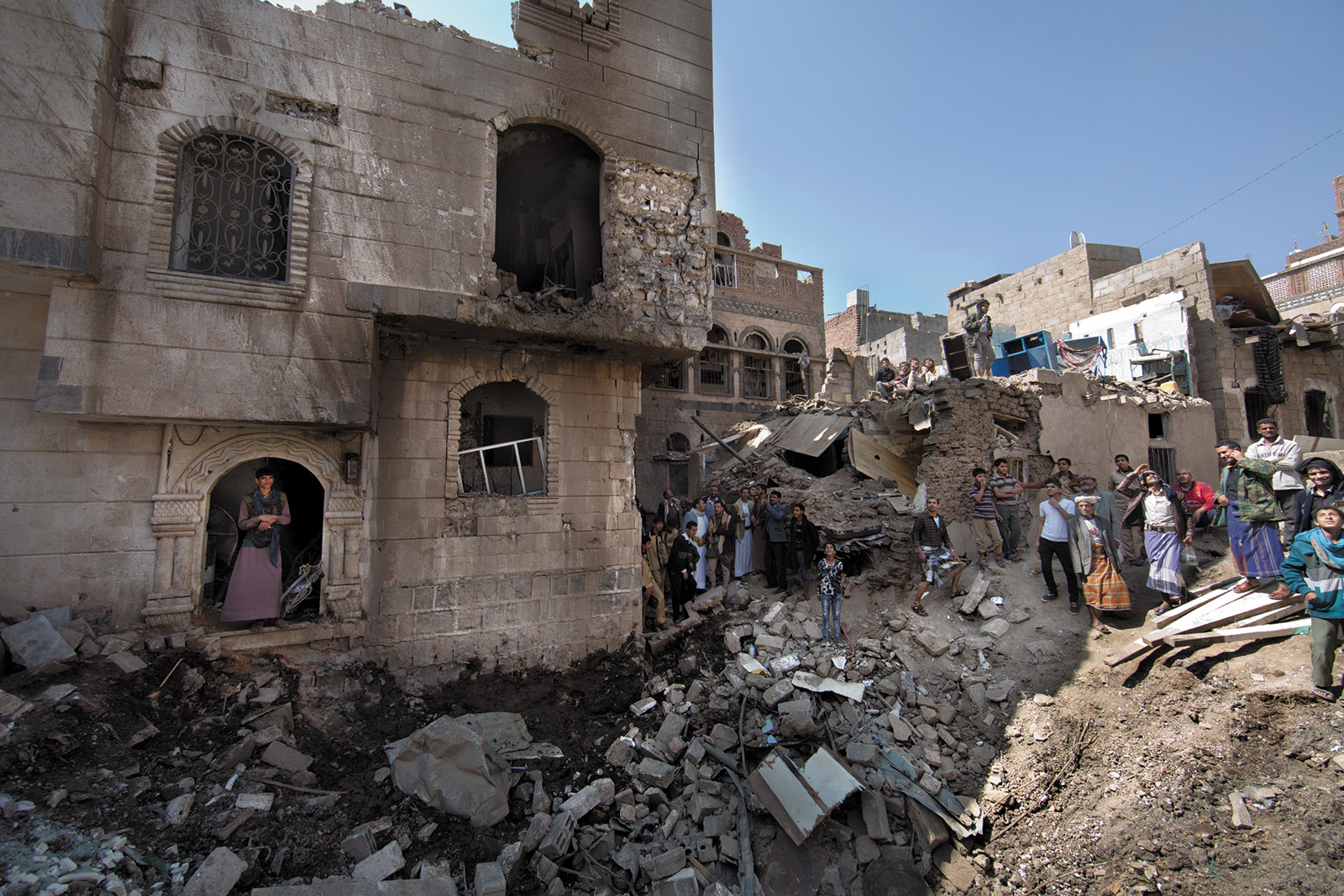 Damage from bombing by Saudi-led forces, Sanaa, Yemen, November 2017