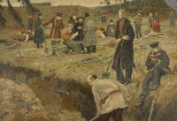 Decembrists in a Siberian prison camp, reproduction of a painting by A.V. Morovov, 1910