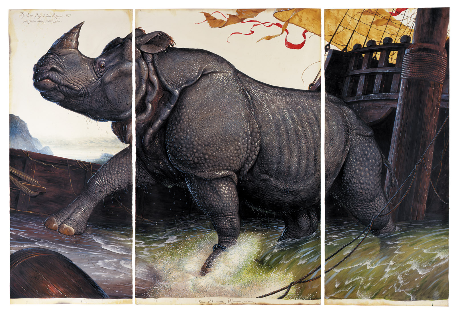 Walton Ford: Loss of the Lisbon Rhinoceros, 2008. For more on Ford's work, see Lucy Jakub's 'Walton Ford: Twenty-First-Century Naturalist' on the NYR Daily (nybooks.com/ford-daily).