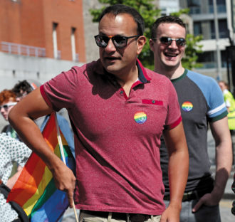 Leo Varadkar, the prime minister of Ireland, and his partner, Matthew Barrett, at an LGBTQ Pride festival, Dublin, June 2017