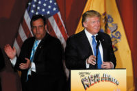 Republican presidential candidate Donald Trump and New Jersey governor Chris Christie at a fund-­raising event, Lawrenceville, New Jersey, May 2016