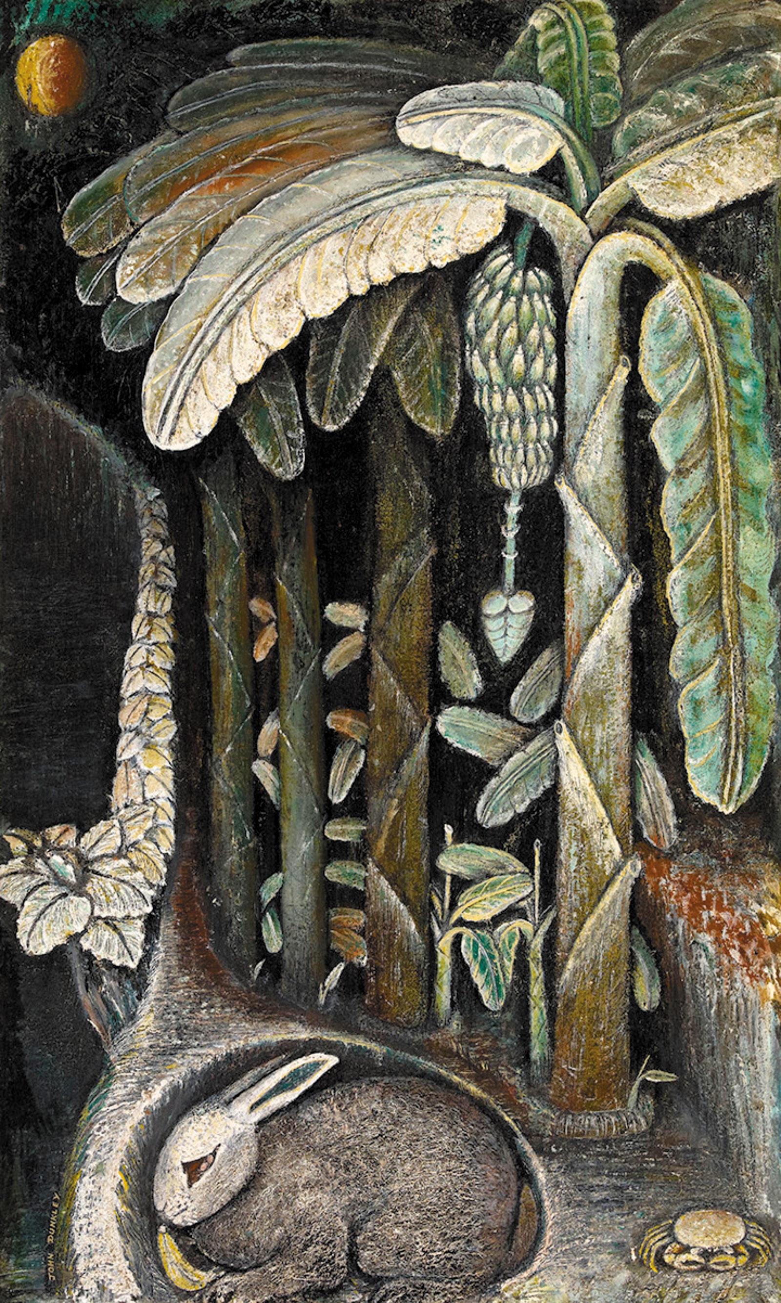 John Dunkley: Banana Plantation, 29 1/8 x 17 5/8 inches, circa 1945