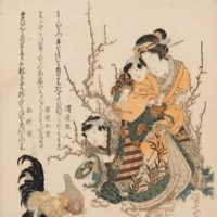 Keisai Eisen: A mother with her two children feeding chickens, 1825