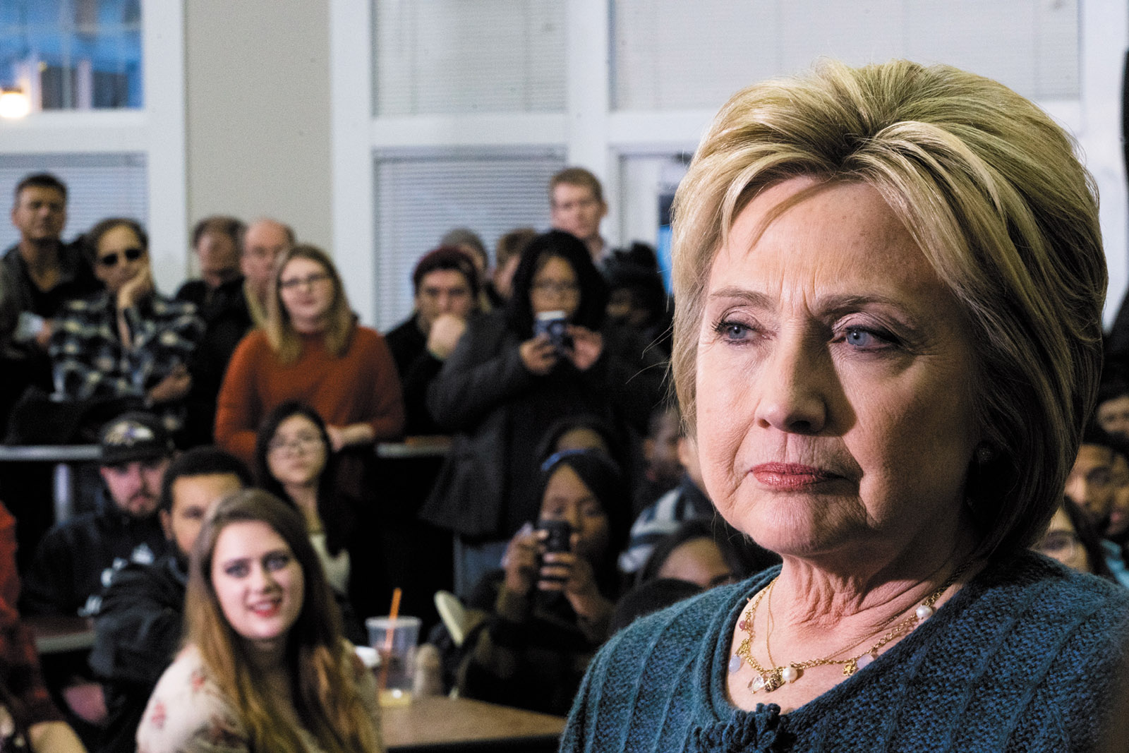Hillary Clinton at New England College in Henniker, New Hampshire, before the state primary, February 2016