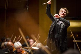 Susanna Mälkki making her debut conducting the New York Philharmonic at Avery Fisher Hall, New York City, May 21, 2015