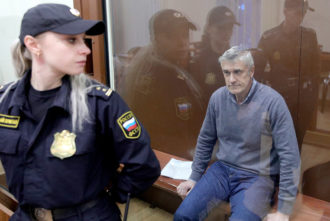Baring Vostok founder Michael Calvey at a Moscow district court hearing following his arrest on fraud charges, Russia, February 15, 2019