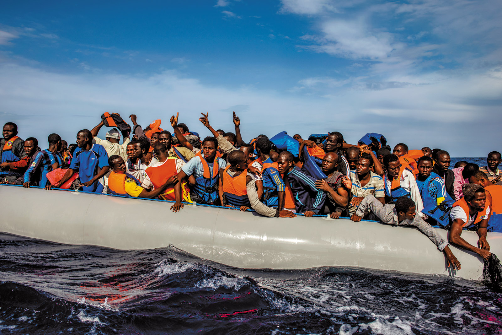 Refugees rescued by the Italian navy between Italy and Libya, October 2014