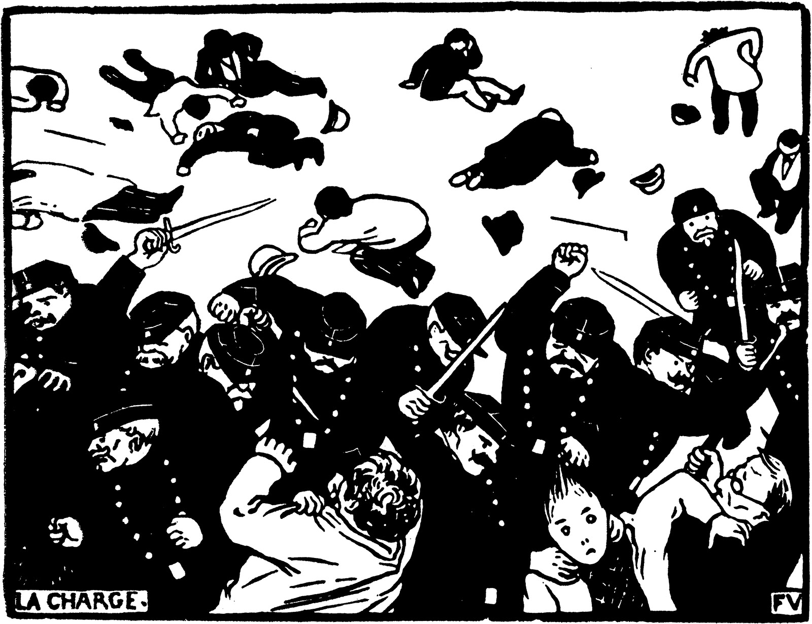 Drawing of people fighting