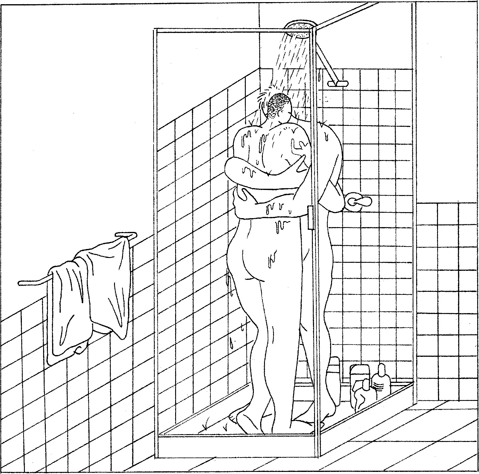 Drawing of a couple in a shower