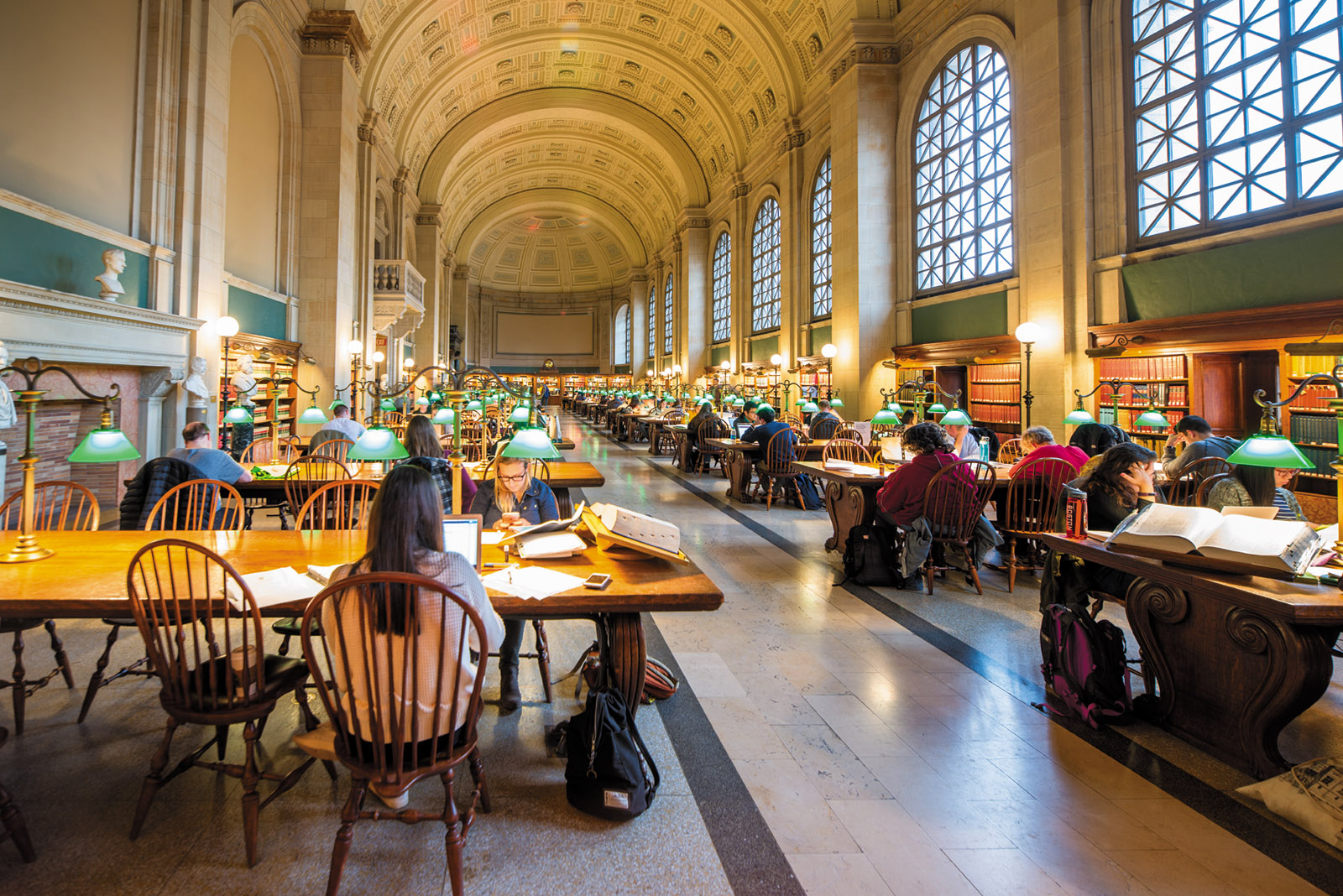 Bates Hall reading room, Boston Public Library, 2017
