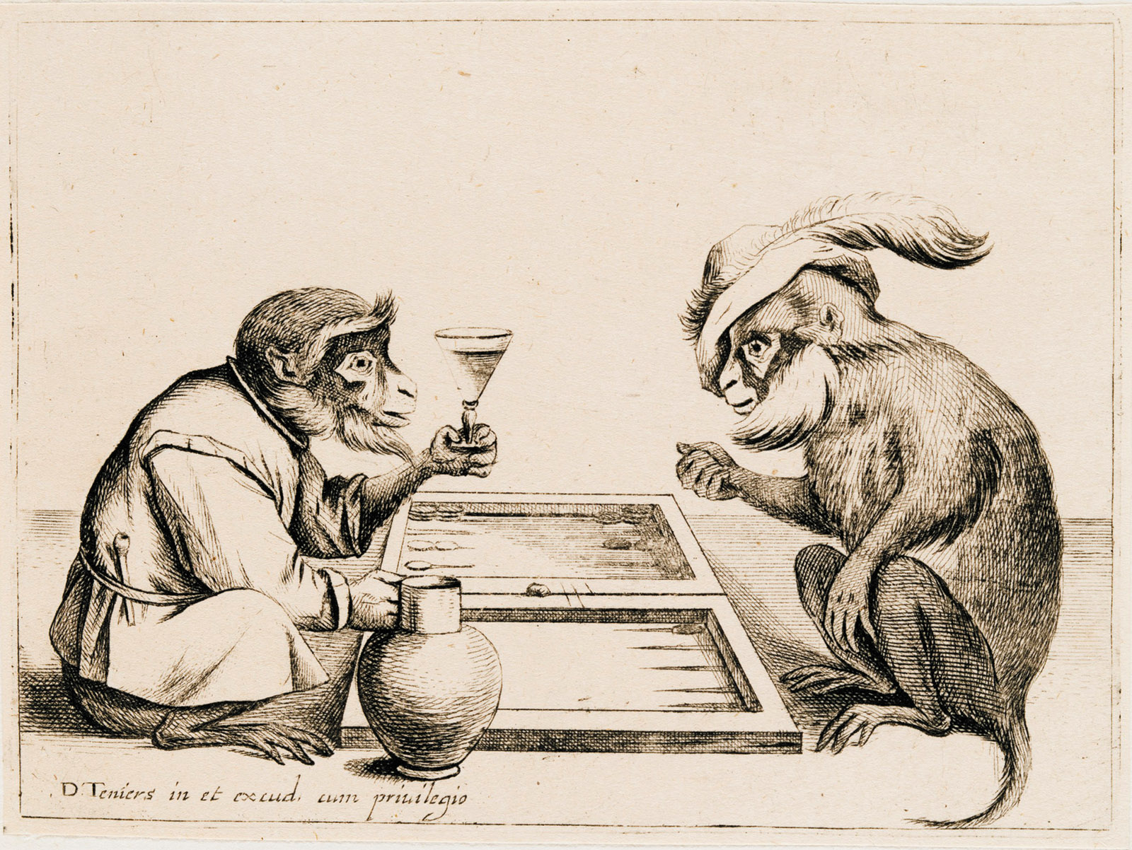 Drawing of two monkeys playing backgammon