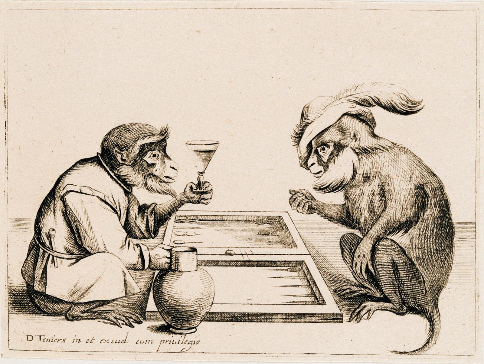 'Two Monkeys Playing Backgammon': drawing by Coryn Boel after David Teniers II, seventeenth century