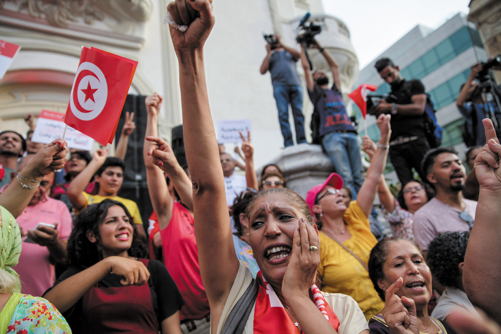 Demonstrators on National Women's Day, Tunis, August 13, 2018. Earlier that day President Beji Caid Essebsi had announced that an inheritance equality bill would be submitted to parliament.