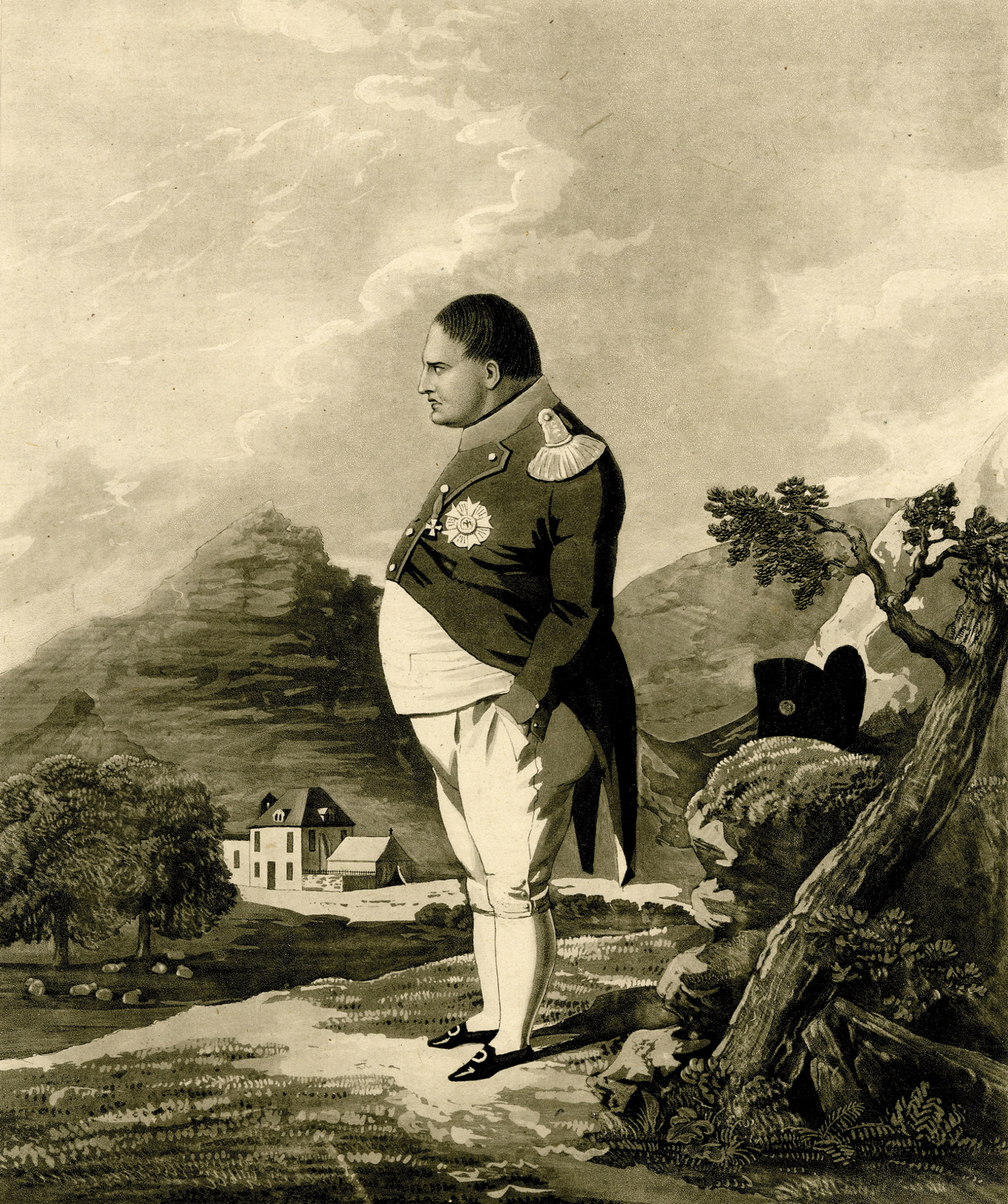 An engraving of Napoleon based on a drawing by a British army captain stationed on Saint Helena, 1820