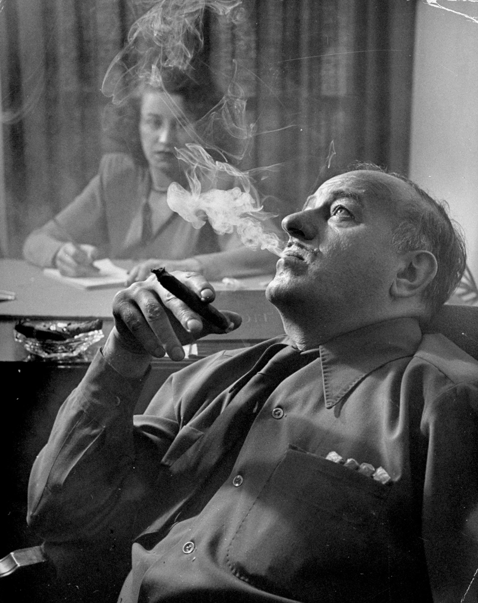 Ben Hecht dictating dialogue for his film Specter of the Rose, circa 1946