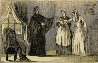 'Mother Abbess Strangling the Infant'; lithograph from the anti-Catholic pamphlet Popery!: As It Was and as It Is, 1845