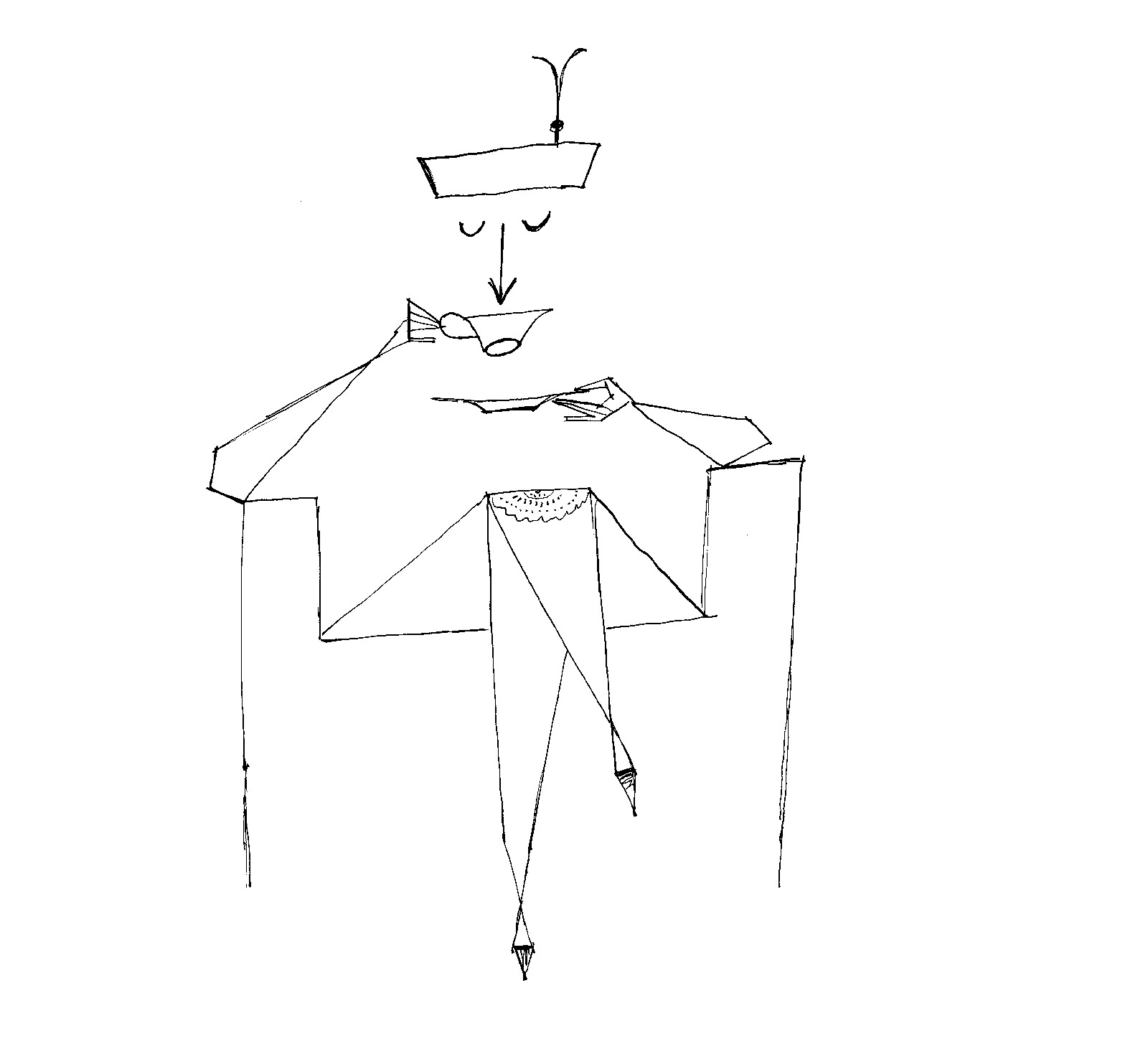 Drawing of a woman sipping from a tea cup by Saul Steinberg