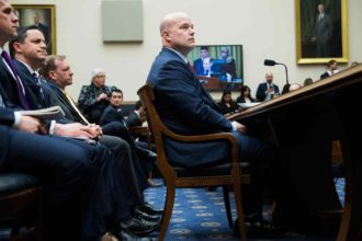 Acting attorney general Matthew Whitaker at a House Judiciary Committee hearing where he was questioned about special counsel Robert Mueller's investigation, February 8, 2019