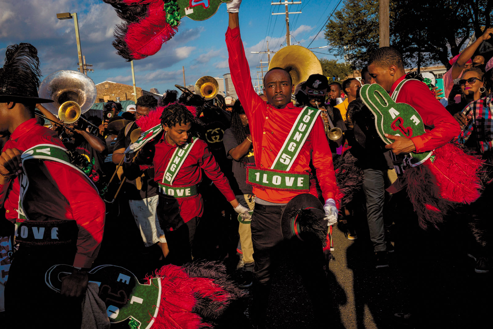 Musicians in a parade, New Orleans, October 2018