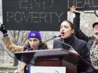 Rep. Alexandria Ocasio-Cortez, Democrat of New York, addressing the third annual Women's March, New York City, January 19, 2019