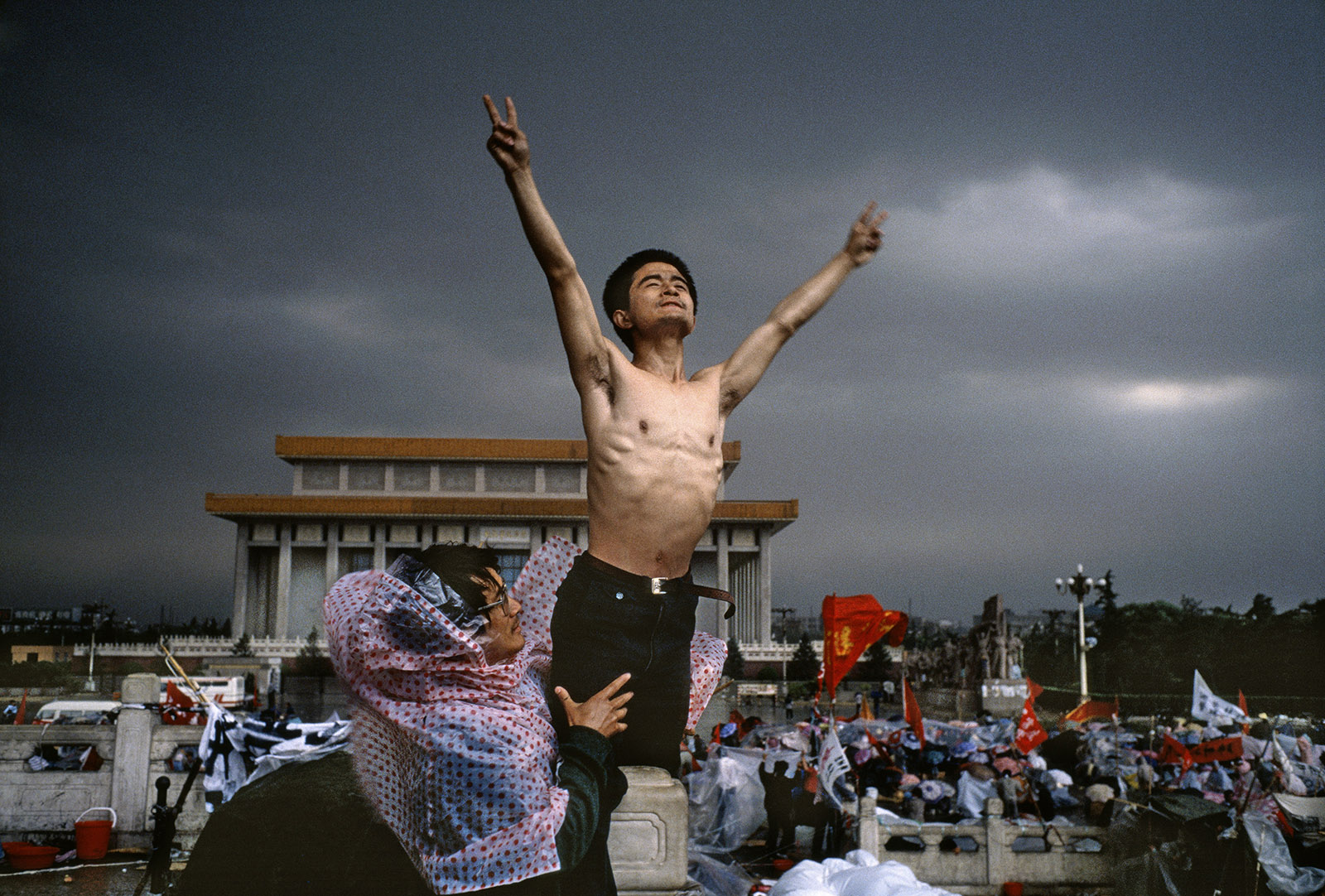 Pro-democracy protesters at Tiananmen Square, Beijing, China, 1989