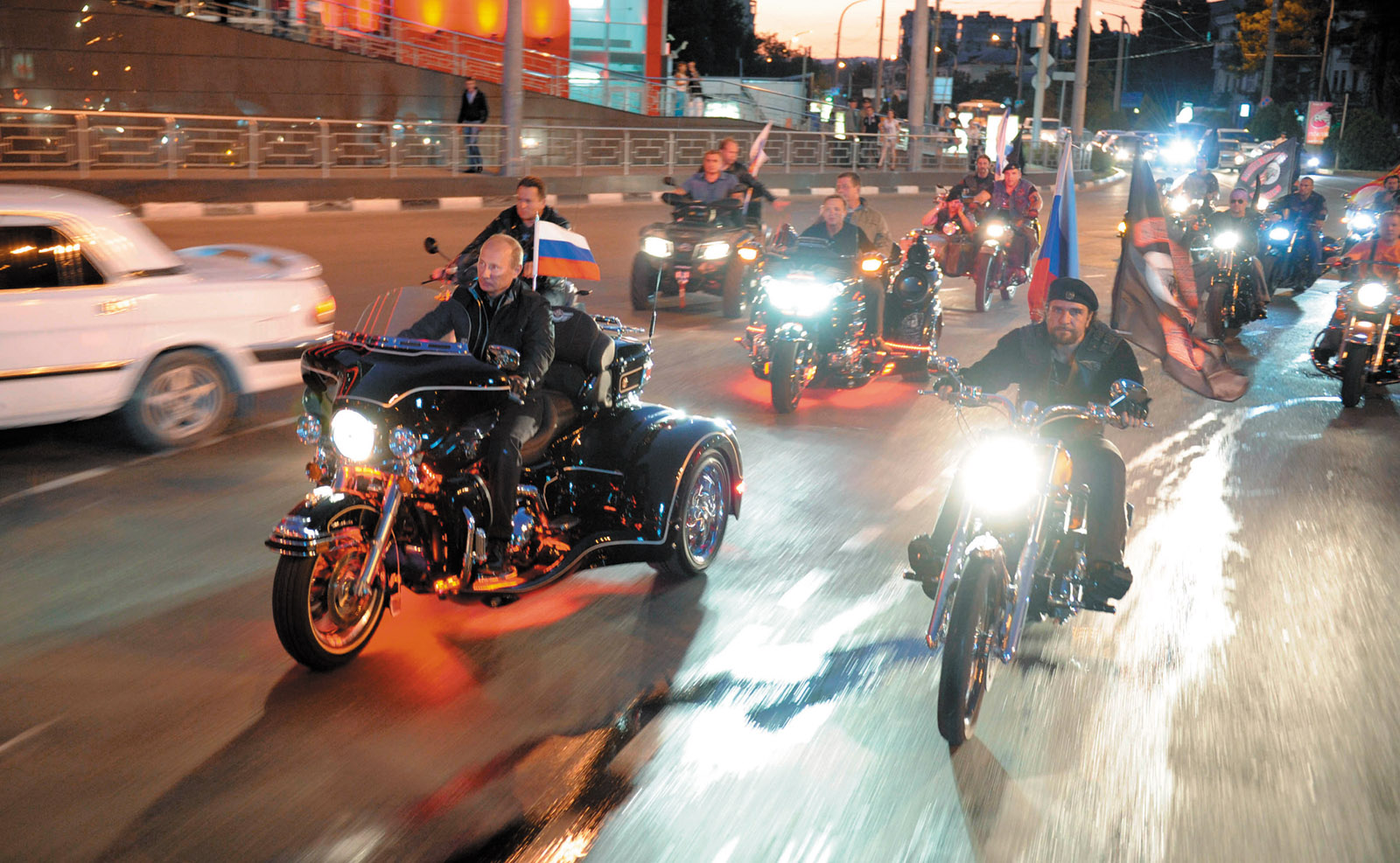 Vladimir Putin riding with the Night Wolves, Russia, 2011
