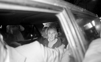Jennifer Guinness, who had been kidnapped by the Provisional IRA, shortly after her rescue, Dublin, 1986