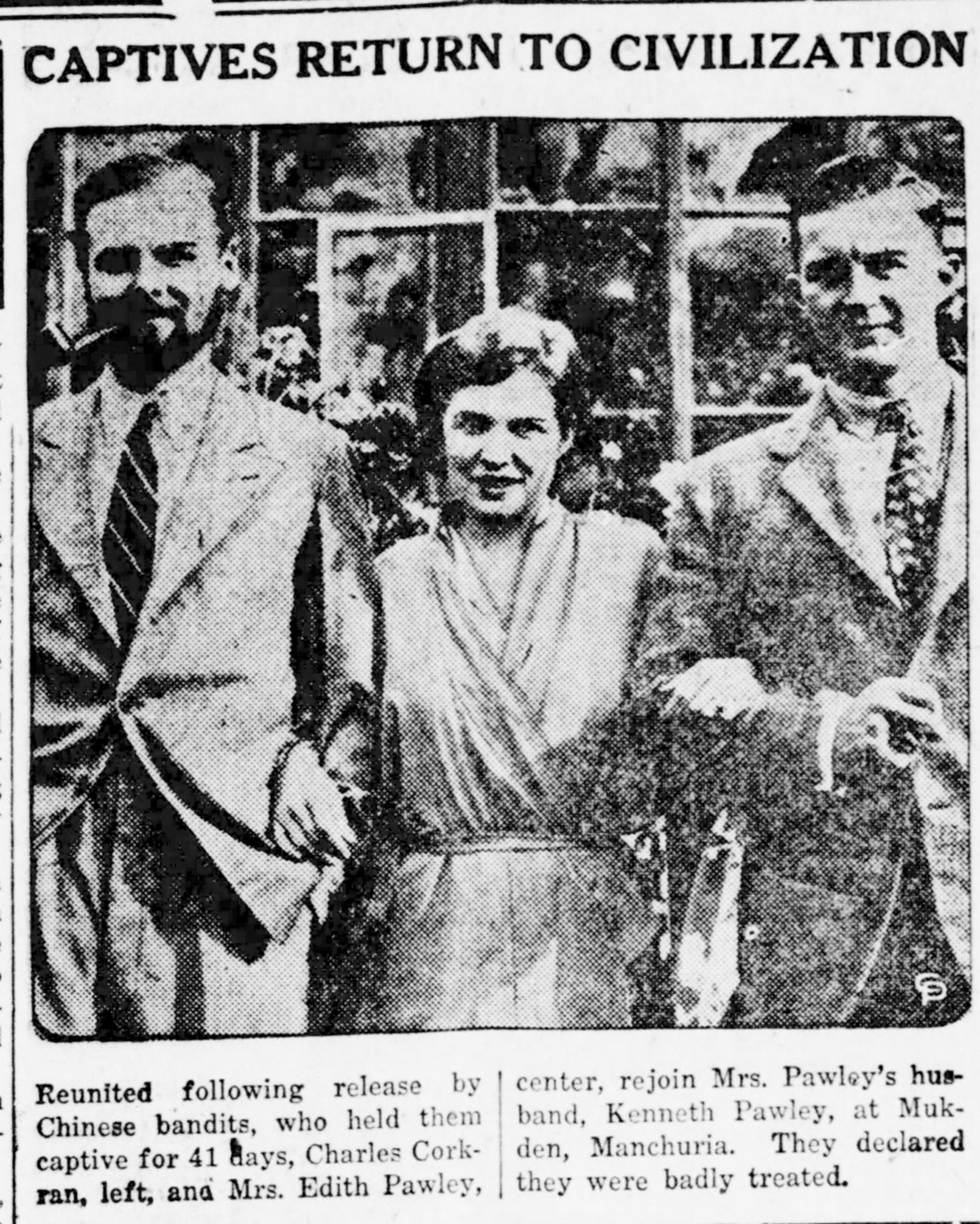 Newspaper clipping of Muriel 'Tinko' Pawley after her release, Manchuria, 1932