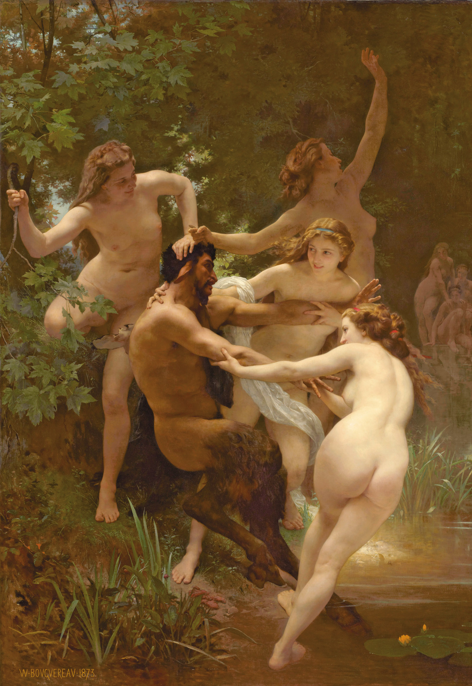 William-Adolphe Bouguereau: Nymphs and Satyr, 102 1/2 x 72 inches, 1873